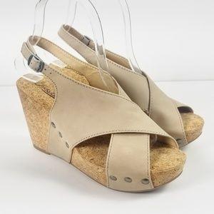 Lucky Brand Minari Leather Cork Wedge Sandals